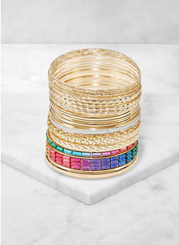 Multi Color Rhinestone Bangles Set - 3194074974026