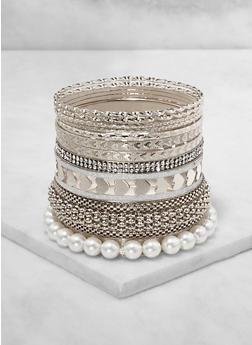 Plus Size Faux Pearl and Metallic Bangles Set - 3194074974032