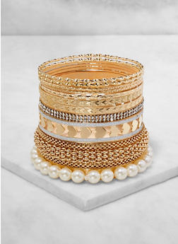Plus Size Faux Pearl and Metallic Bangles Set - 3194074974032