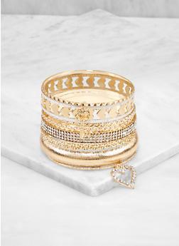 Plus Size Glitter Heart Charm Bangles - 3194074974034