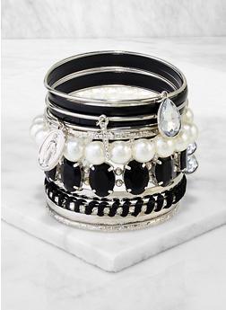 Faux Pearl Religious Charm Bangles - 3194074974040