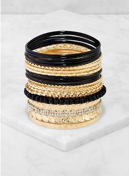 Assorted Rhinestone and Textured Metallic Bangles - 3194074974047