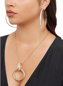 Glitter Metallic Hoop Necklace and Earrings Set - 3194074974077