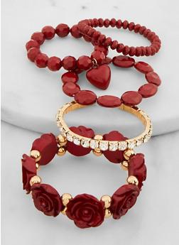 Set of 5 Heart Charm Rose Bracelets - 3194074974513