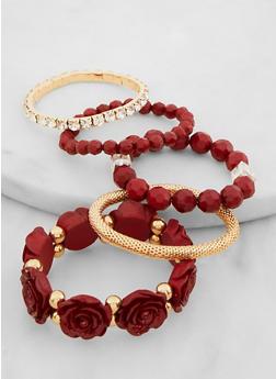 Set of 5 Flower Stretch Bracelets - 3194074974535