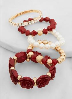 Faux Pearl Rose Stretch Bracelets - 3194074974596