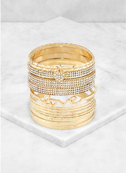 Plus Size Love Metallic Bangles - 3194074981192