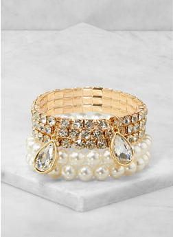 5 Faux Pearl and Rhinestone Stretch Bracelets - 3194074983197