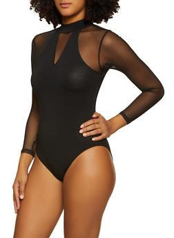 Mesh Sleeve Bodysuit - 3307015990014