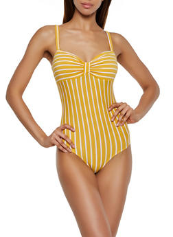 Striped Ruched Bodysuit - 3307054260798