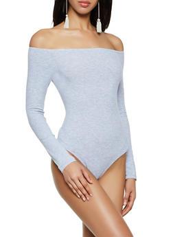 Ribbed Knit Off the Shoulder Bodysuit - 3307054261259