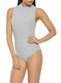 Ribbed Knit Mock Neck Bodysuit - 3307054269418