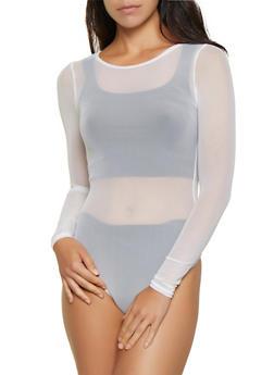 Scoop Neck Mesh Thong Bodysuit - 3307058750775