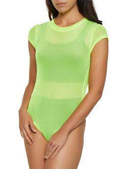 Mock Neck Mesh Bodysuit - 3307058751804