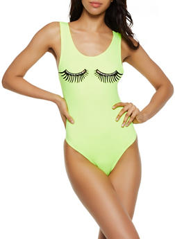 Rhinestone Studded Eyelash Graphic Thong Bodysuit - 3307058753481