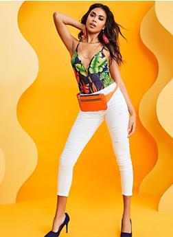 Tropical Print Plunge Mesh Bodysuit - 3307058753705