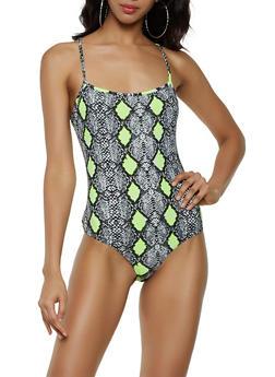 Snake Print Cami Thong Bodysuit - 3307062413801