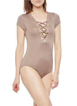 Lace Up Grommet Bodysuit - 3307067330090