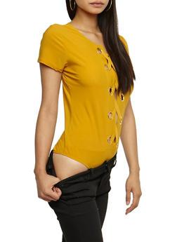 Lace Up Grommet Bodysuit - 3307067339214