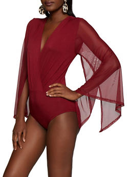 Faux Wrap Split Bell Sleeve Mesh Bodysuit - 3307074291612