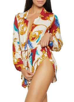Printed Overlay Bodysuit - 3307074292003