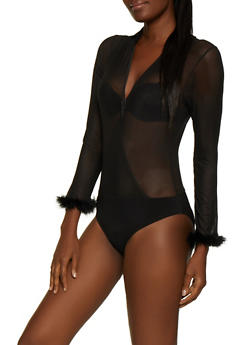 Faux Wrap Feather Trim Mesh Bodysuit - 3307074292461