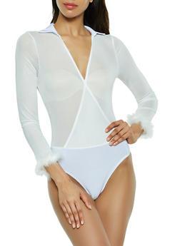 Faux Wrap Feather Trim Mesh Bodysuit - 3307074292461