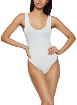 Solid Tank Thong Bodysuit - 3307074293001
