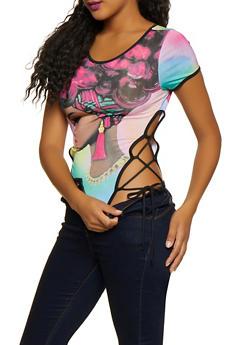 Lace Up Face Graphic Bodysuit - 3307074293704