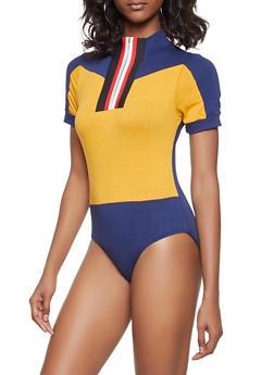 Striped Ribbed Knit Zip Trim Bodysuit - 3307074295047