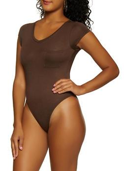 V Neck Tee Bodysuit - 3307074295219