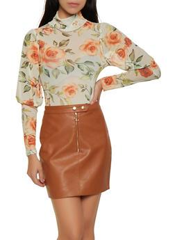 Mesh Floral Thong Bodysuit - 3307074297124