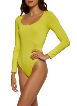 Long Sleeve Square Neck Bodysuit - 3307074297139