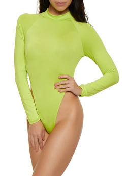 Mock Neck High Cut Thong Bodysuit - 3307074297145