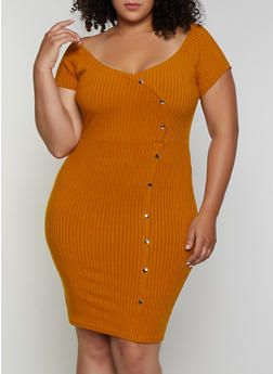 Plus Size Off the Shoulder Ribbed Bodycon Dress - 3390034280520