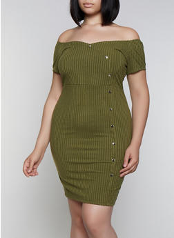 30fe3ae9ccdf Plus Size Off the Shoulder Ribbed Bodycon Dress - 3390034280520