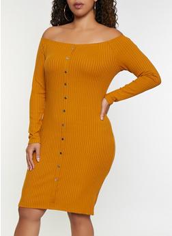 Plus Size Rib Knit Off the Shoulder Button Dress - 3390034280561
