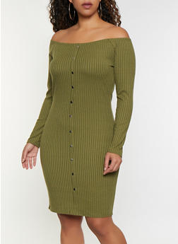 Plus Size Rib Knit Off the Shoulder Button Dress - 3390034280561