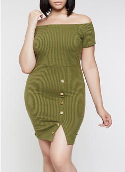 Plus Size Off the Shoulder Button Detail Dress - 3390034280562