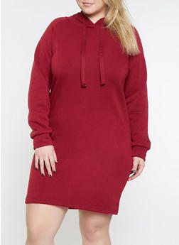 Plus Size Fleece Lined Sweatshirt Dress - 3390038343903