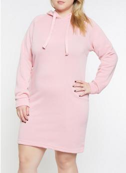 Plus Size Fleece Lined Sweatshirt Dress - 3390038343903
