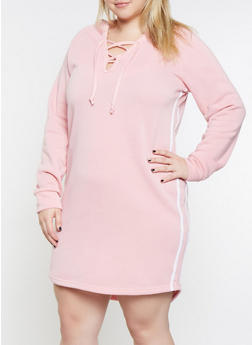 Plus Size Side Stripe Sweatshirt Dress - 3390038343904