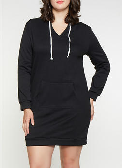 Plus Size Solid Sweatshirt Dress - 3390038343905
