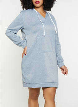 Plus Size Solid Sweatshirt Dress - 3390038343905
