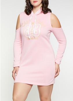 Plus Size Cold Shoulder Sweatshirt Dress - 3390038343907