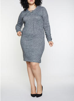 Plus Size Lace Up Sweater Dress - 3390038343935