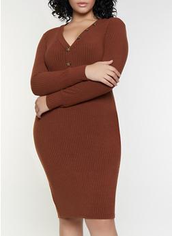 Plus Size Button Rib Knit Dress - 3390038344960
