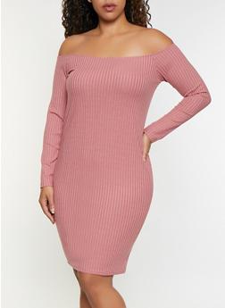 Plus Size Rib Knit Off the Shoulder Bodycon Dress - 3390038344962