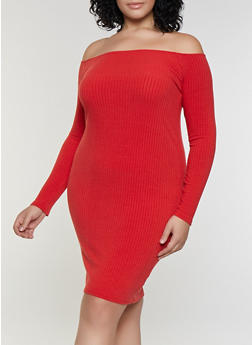 Plus Size Rib Knit Off the Shoulder Bodycon Dress - 3390038344962