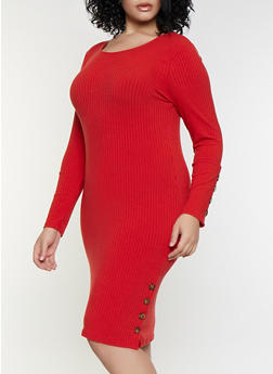 Plus Size Rib Knit Button Bodycon Dress - 3390038344963